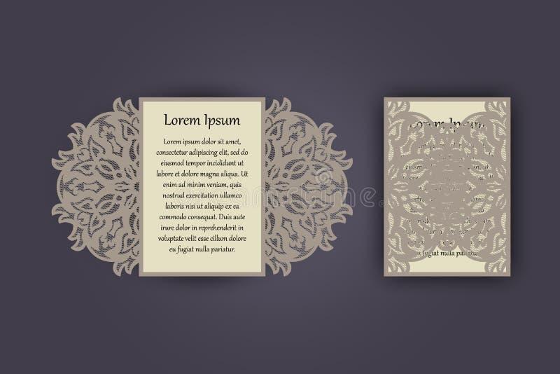 Поздравительная открытка приглашения или свадьбы с винтажным орнаментом шнурка Модель-макет для вырезывания лазера также вектор и иллюстрация вектора