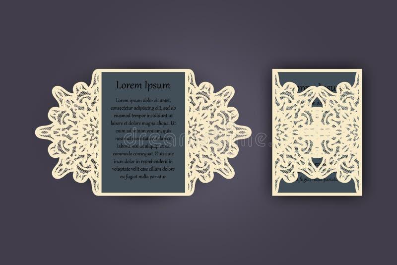 Поздравительная открытка приглашения или свадьбы с винтажным орнаментом шнурка Модель-макет для вырезывания лазера также вектор и иллюстрация штока