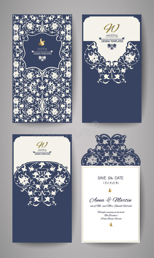 Поздравительная открытка приглашения или свадьбы с орнаментом золота флористическим Конверт приглашения свадьбы для вырезывания л иллюстрация вектора
