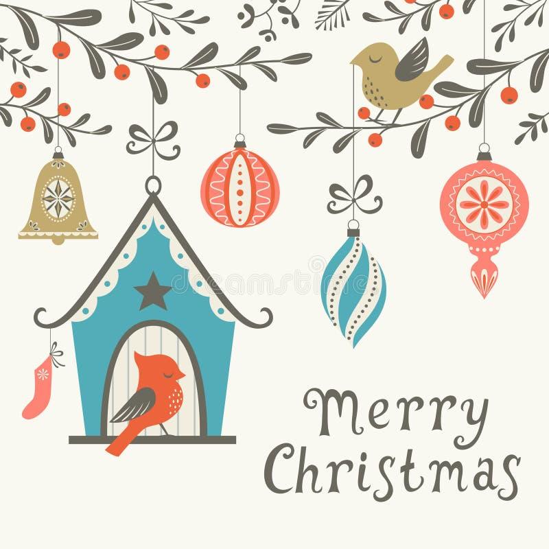 Поздравительная открытка птиц рождества иллюстрация вектора