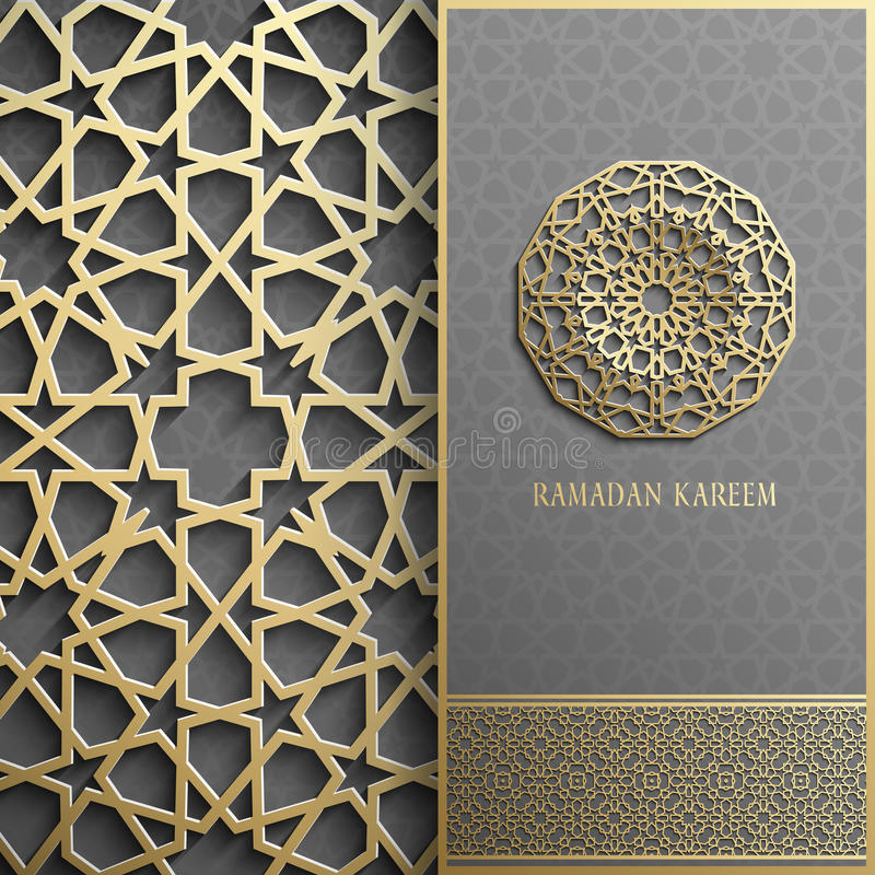 Поздравительная открытка Рамазана Kareem, стиль приглашения исламский Картина арабского круга золотая Орнамент на черноте, брошюр бесплатная иллюстрация