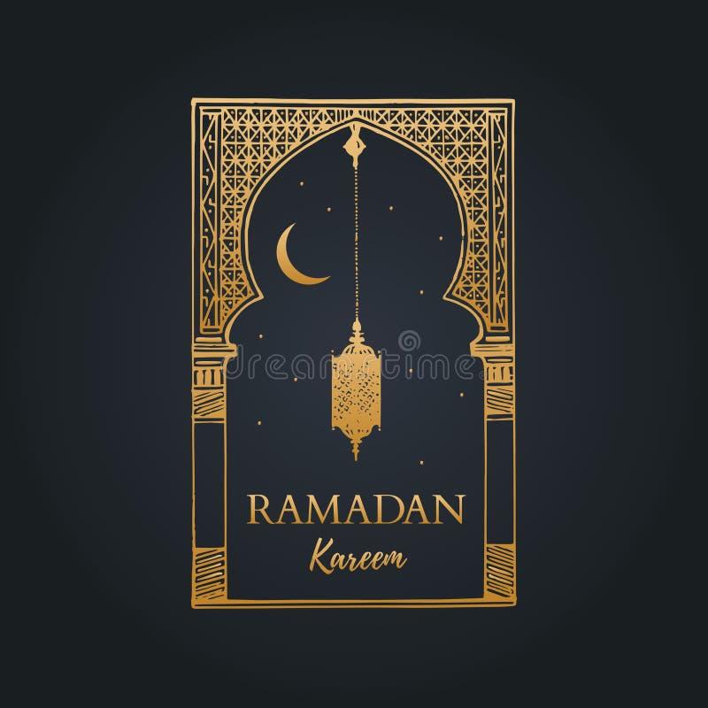 Поздравительная открытка Рамазана Kareem с каллиграфией Vector свод, фонарик, молодой месяц и звезды сделанные эскиз к рукой вост иллюстрация вектора
