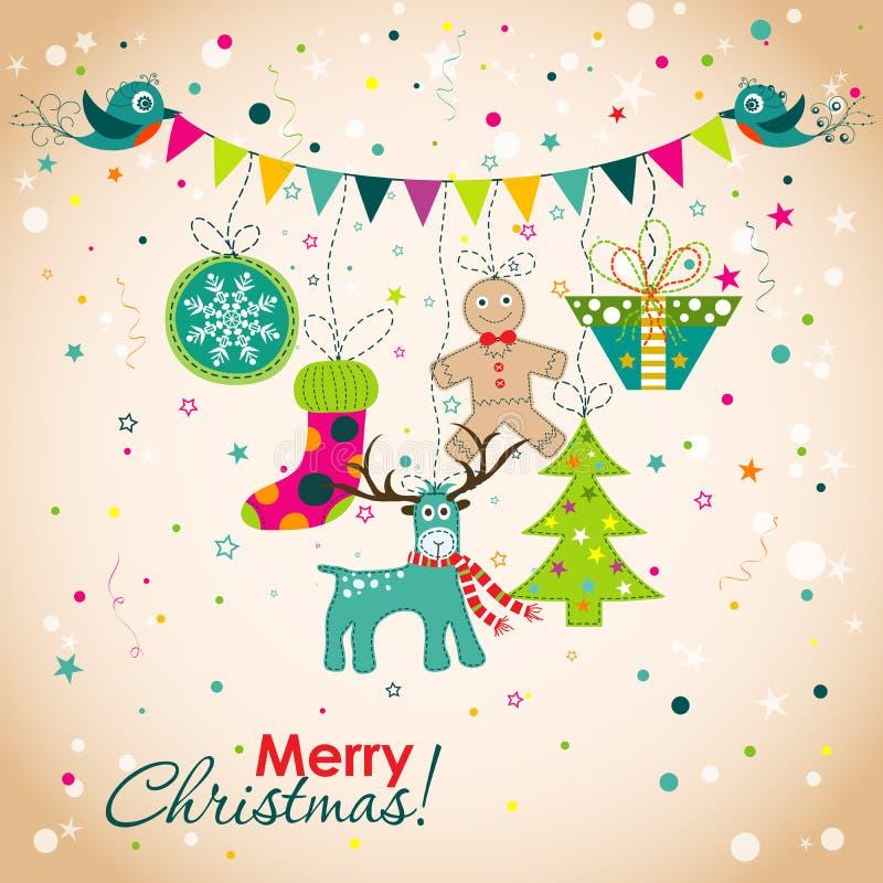Поздравительная открытка рождества, вектор иллюстрация штока