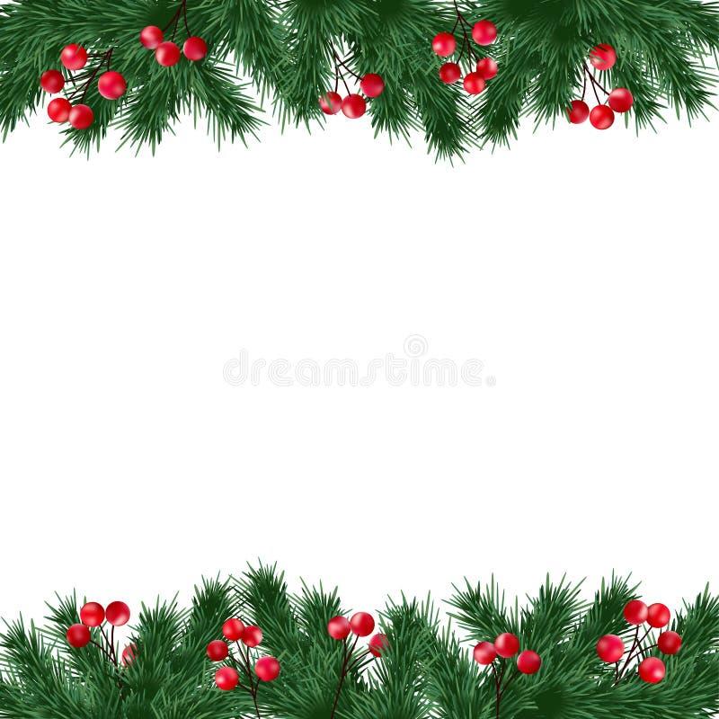 Поздравительная открытка рождества, приглашение с ветвями ели и граница ягод падуба на белой предпосылке иллюстрация штока