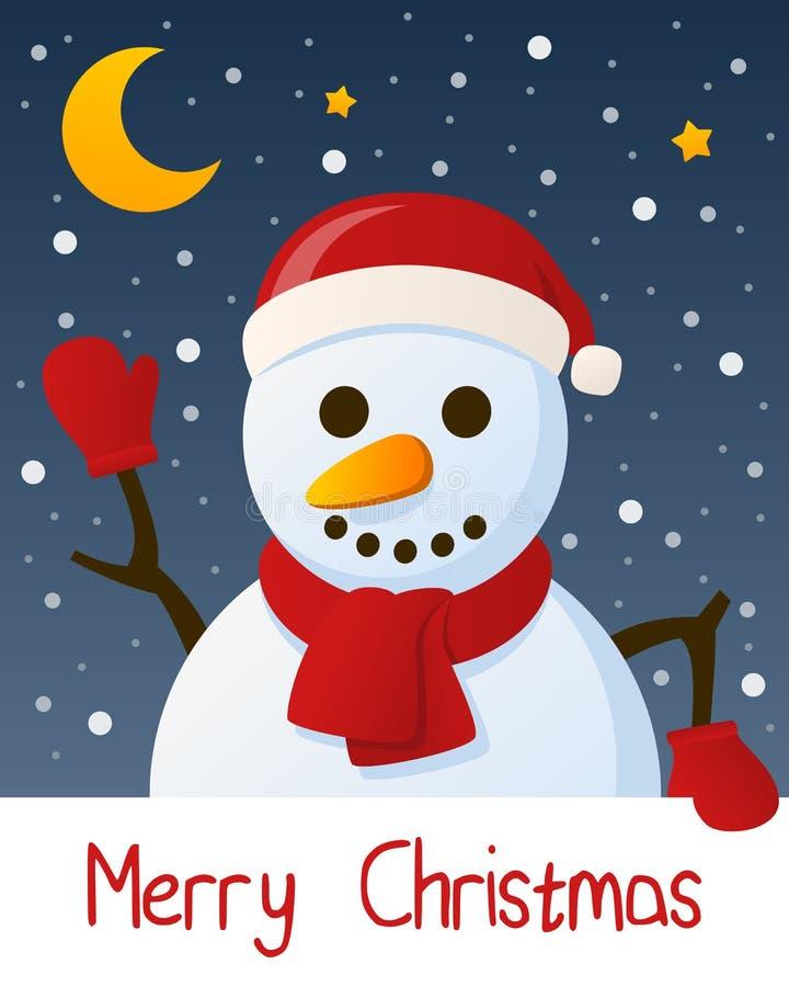 Поздравительная открытка рождества снеговика иллюстрация штока
