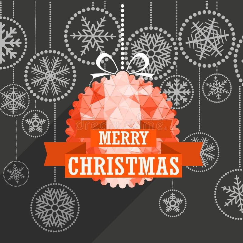Поздравительная открытка рождества с безделушкой белого рождества бесплатная иллюстрация