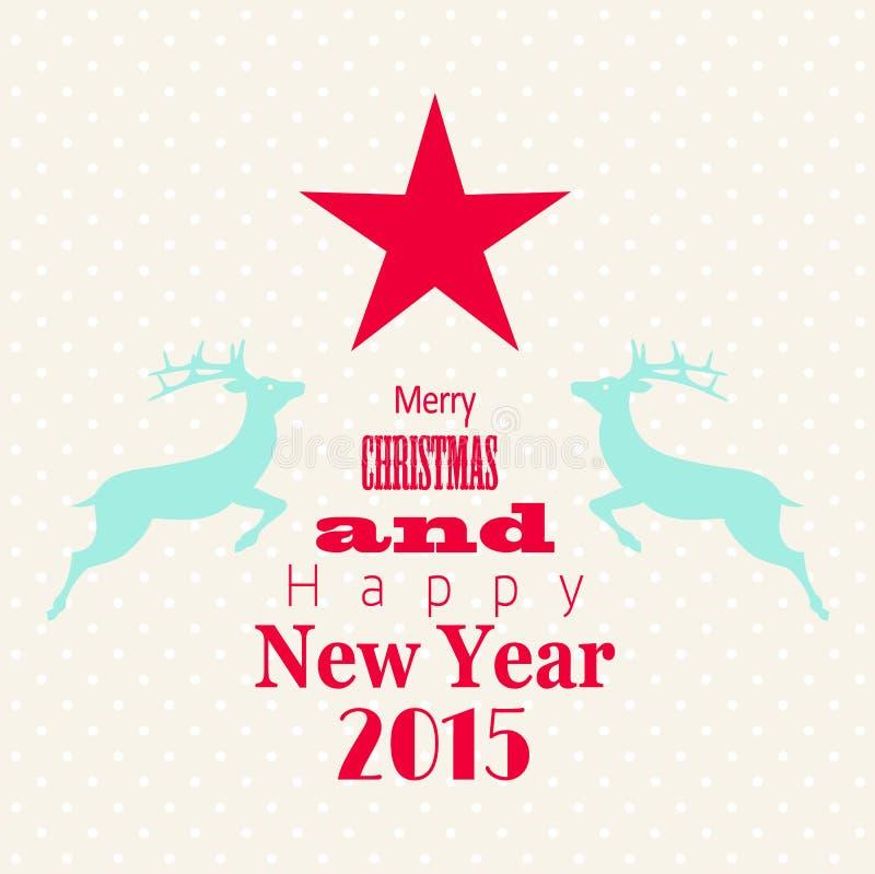 Поздравительная открытка рождества с красными звездой и северным оленем иллюстрация штока
