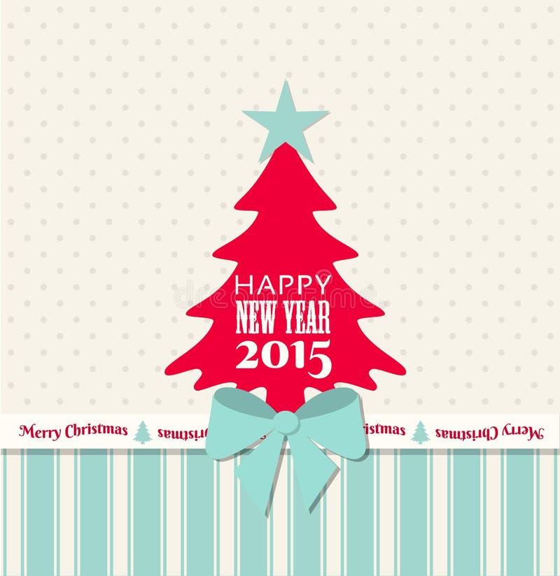 Поздравительная открытка рождества с красным деревом и голубой лентой иллюстрация штока