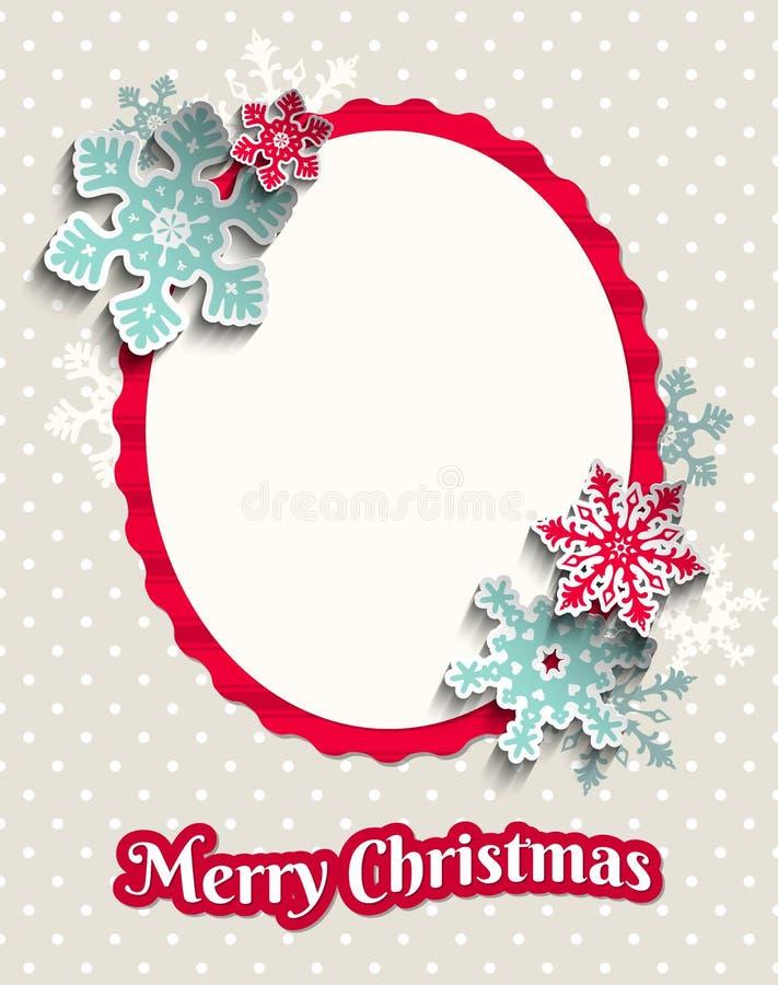 Поздравительная открытка рождества с красочными снежинками иллюстрация вектора