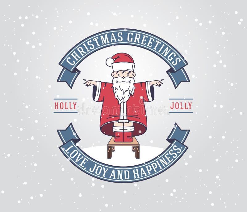 Поздравительная открытка рождества с мальчиком Санта Клауса иллюстрация штока