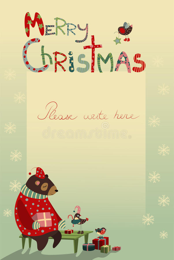 Поздравительная открытка рождества с медведем и птицами бесплатная иллюстрация