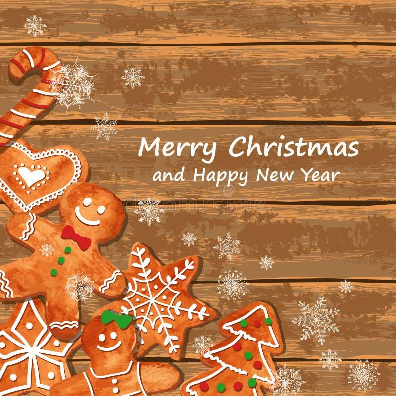 Поздравительная открытка рождества с печеньями пряника бесплатная иллюстрация