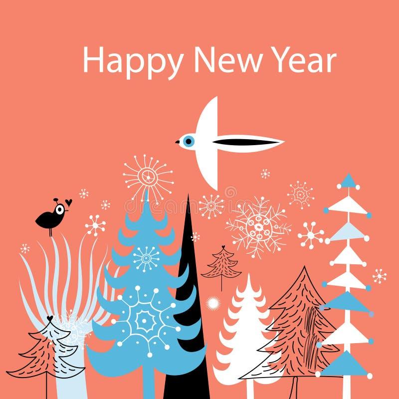 Поздравительная открытка рождества с рождественскими елками и b иллюстрация вектора