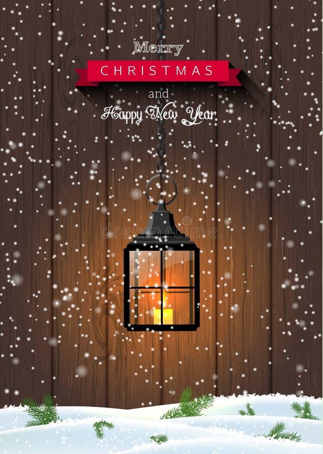 Поздравительная открытка рождества с старый черный светить бесплатная иллюстрация