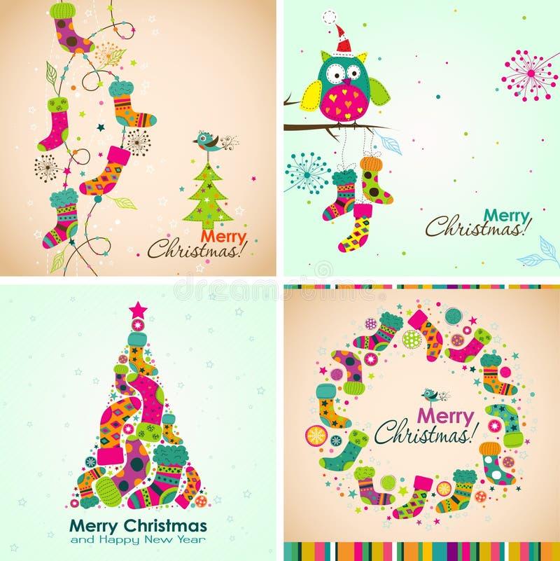 Поздравительная открытка рождества шаблона, ботинок, дерево, вектор бесплатная иллюстрация