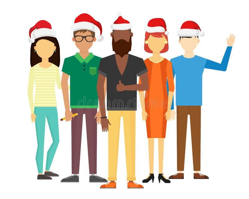 Поздравительная открытка рождества людей команды дела бесплатная иллюстрация