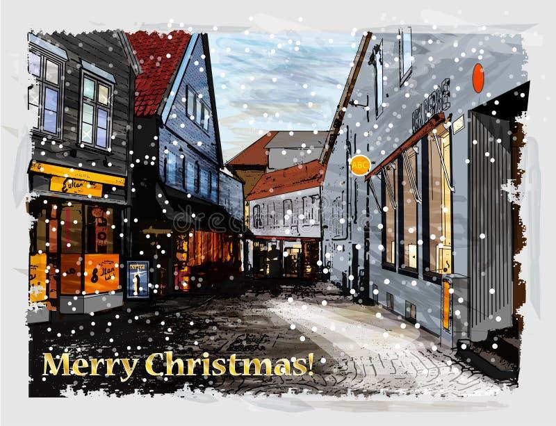 Поздравительная открытка рождества. бесплатная иллюстрация