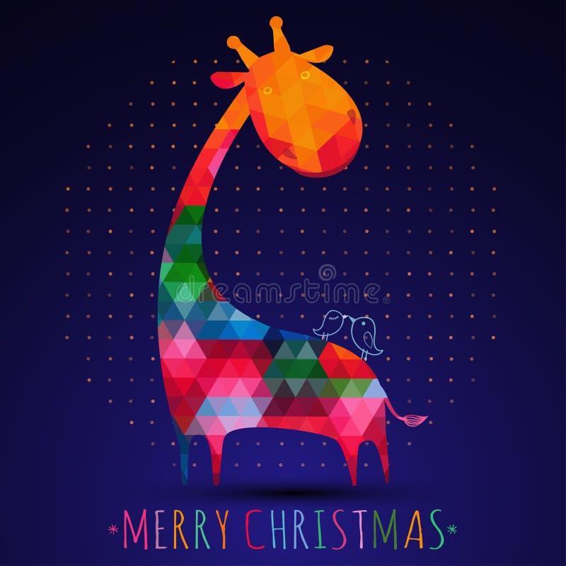 Поздравительная открытка рождества Colorfull с жирафом иллюстрация штока