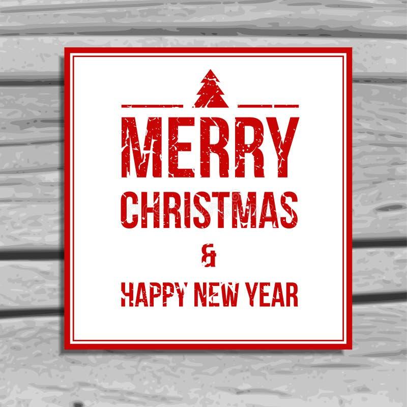 Поздравительная открытка рождества, scratchy текст на старой деревянной предпосылке иллюстрация штока