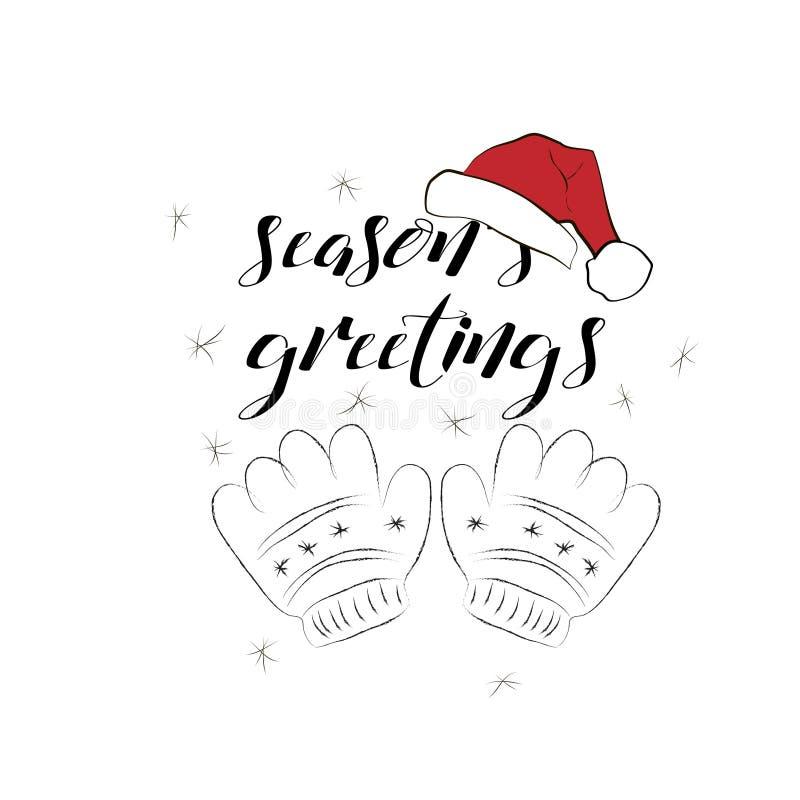 Download Поздравительная открытка сезонов с Handdrawn Mittens и шляпой Санта Клауса Иллюстрация вектора - иллюстрации насчитывающей открытка, рождество: 81801140