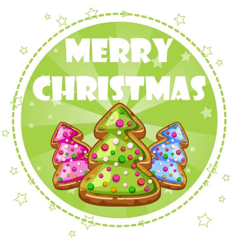 Поздравительная открытка собрания, печенья рождественских елок иллюстрация вектора