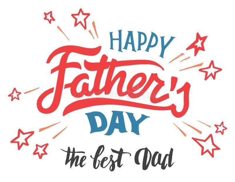 Поздравительная открытка счастливого Дня отца рук-lettered иллюстрация штока