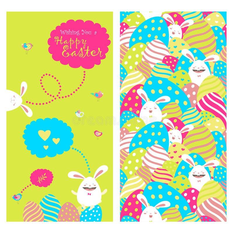 Поздравительная открытка с зайчиками и пасхальными яйцами иллюстрация штока