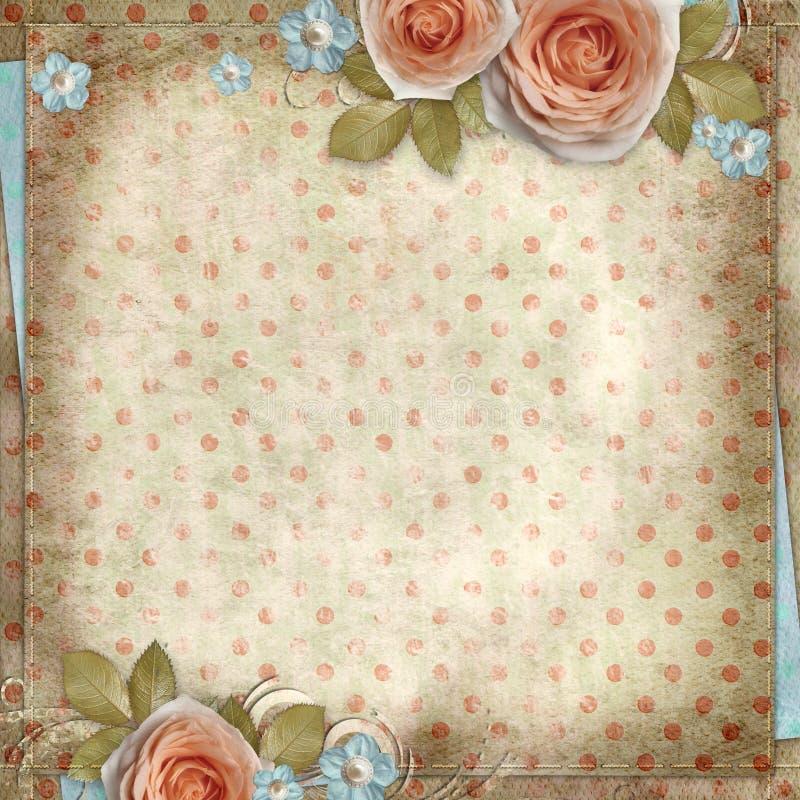 Поздравительная открытка с красивыми розами иллюстрация штока