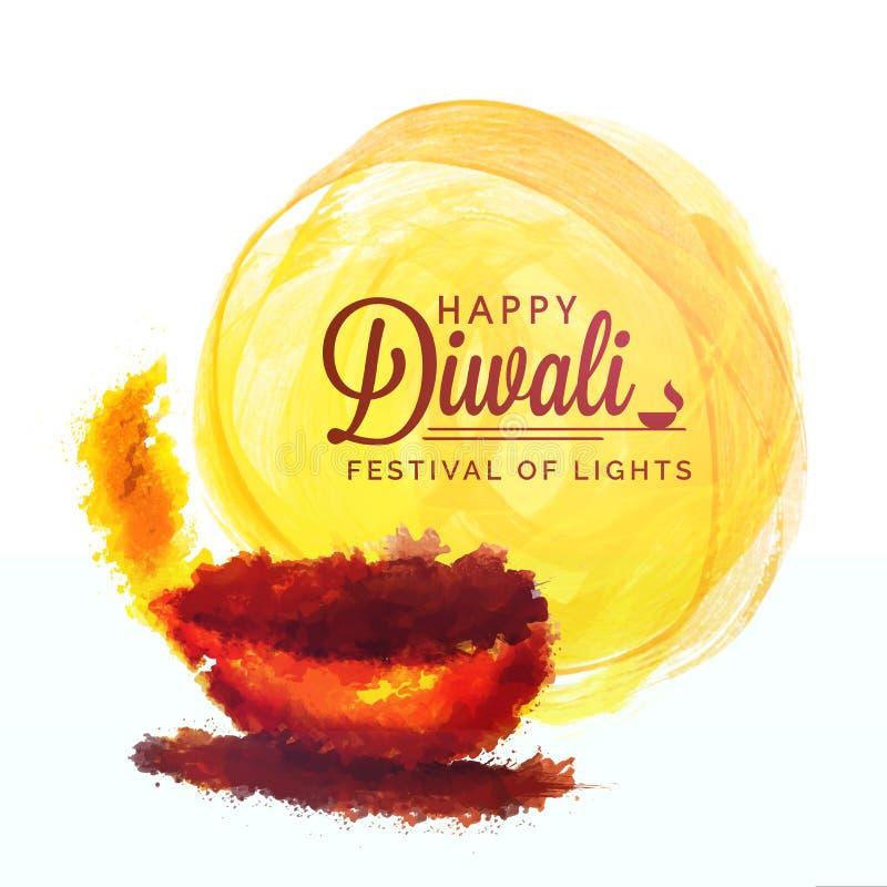 Поздравительная открытка с масляной лампой для счастливого Diwali иллюстрация вектора
