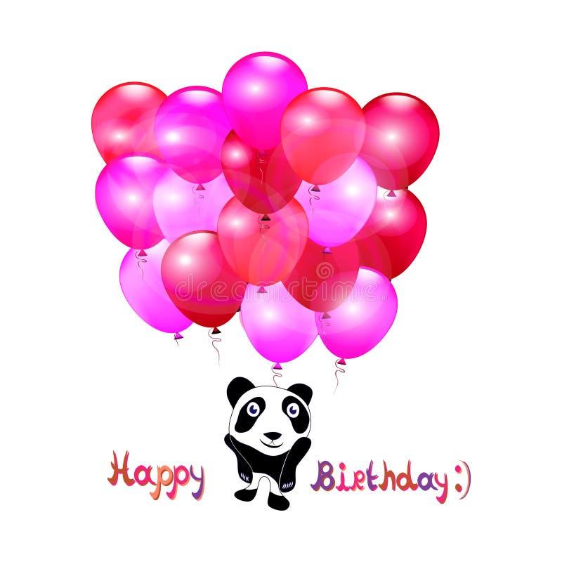 Поздравительная открытка с маленькими милыми пандой и воздушными шарами день рождения счастливый вектор бесплатная иллюстрация