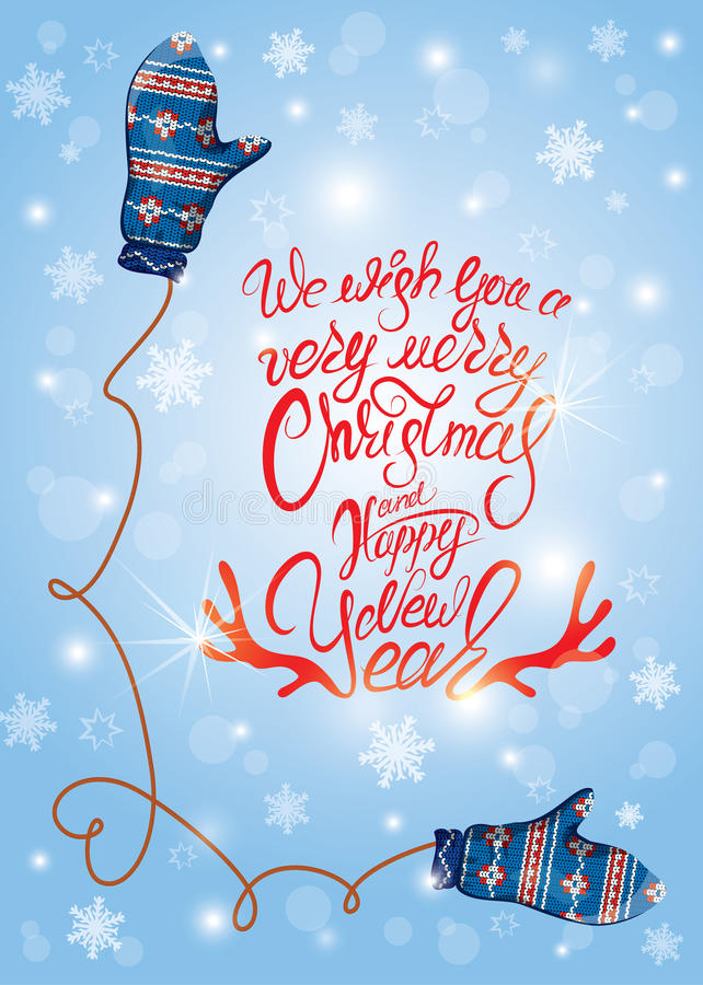 Поздравительная открытка с милой синью связала пары и снежинки mitten иллюстрация штока