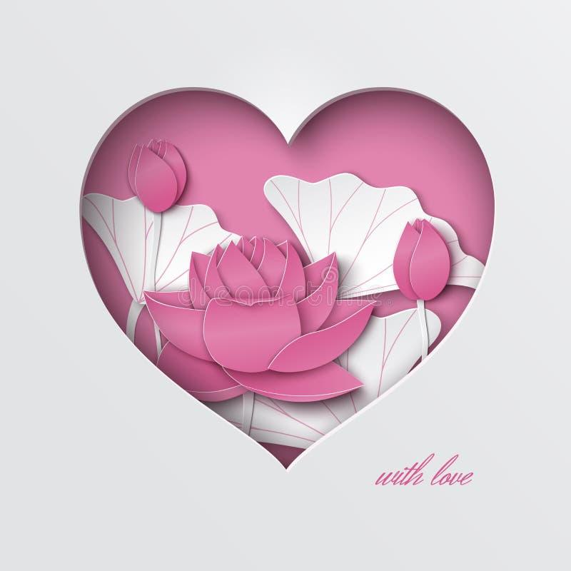 Поздравительная открытка с отрезка сердцем вне, украшенной флористической предпосылкой с цветками лотоса на розовом фоне иллюстрация штока