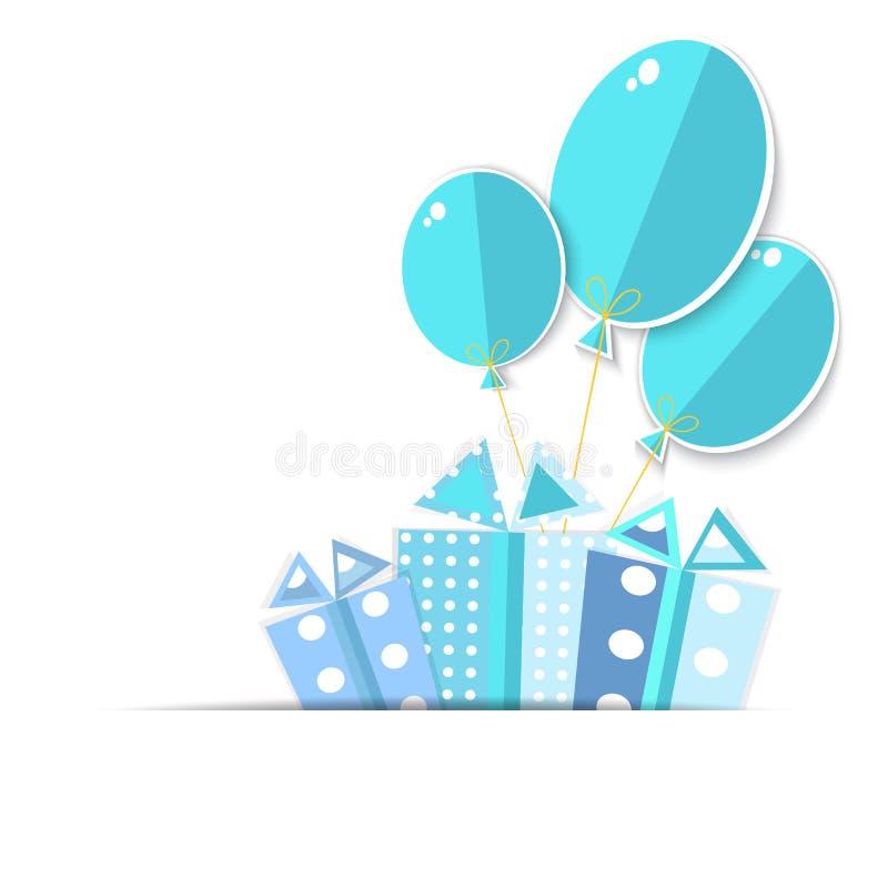 Поздравительная открытка с подарочные коробки и воздушные шары. иллюстрация вектора