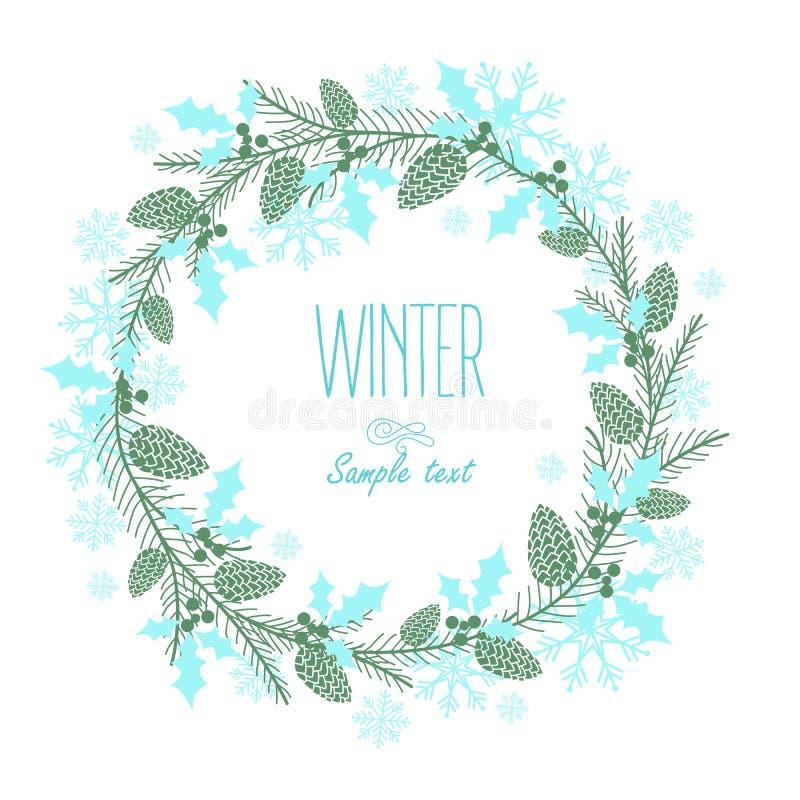 Поздравительная открытка с праздничным венком элементы конструкции предпосылки 4 снежинки белой бесплатная иллюстрация