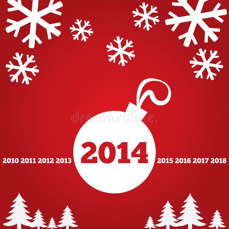Поздравительная открытка с плоскими значками, 2014 Нового Года иллюстрация вектора