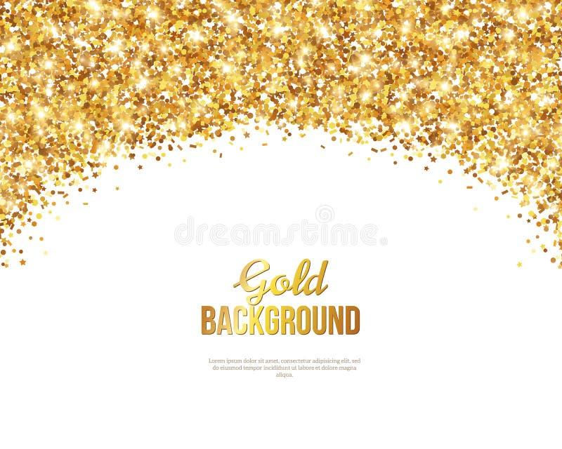 Поздравительная открытка с сводом яркого блеска Confetti золота иллюстрация вектора