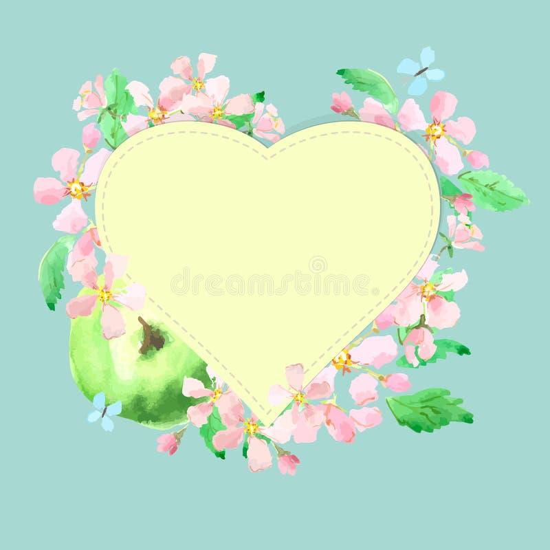 Поздравительная открытка с сердцами в рамке яблок и цветения яблока иллюстрация вектора