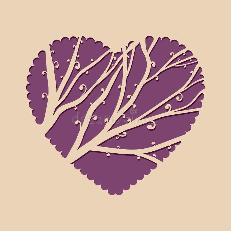 Поздравительная открытка с сердцем и красивым деревом Приглашение шаблона для вырезывания лазера Поздравительная открытка для рез иллюстрация штока