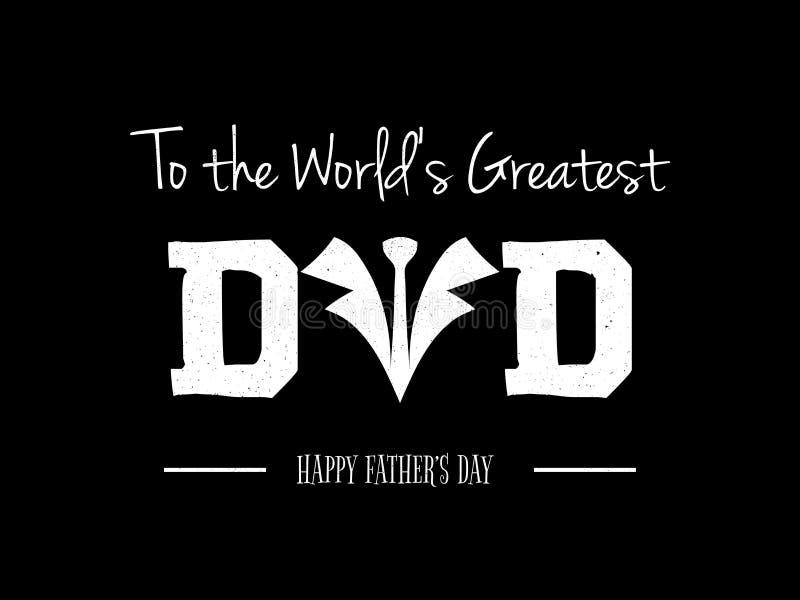 Поздравительная открытка с текстом для торжества Дня отца иллюстрация штока