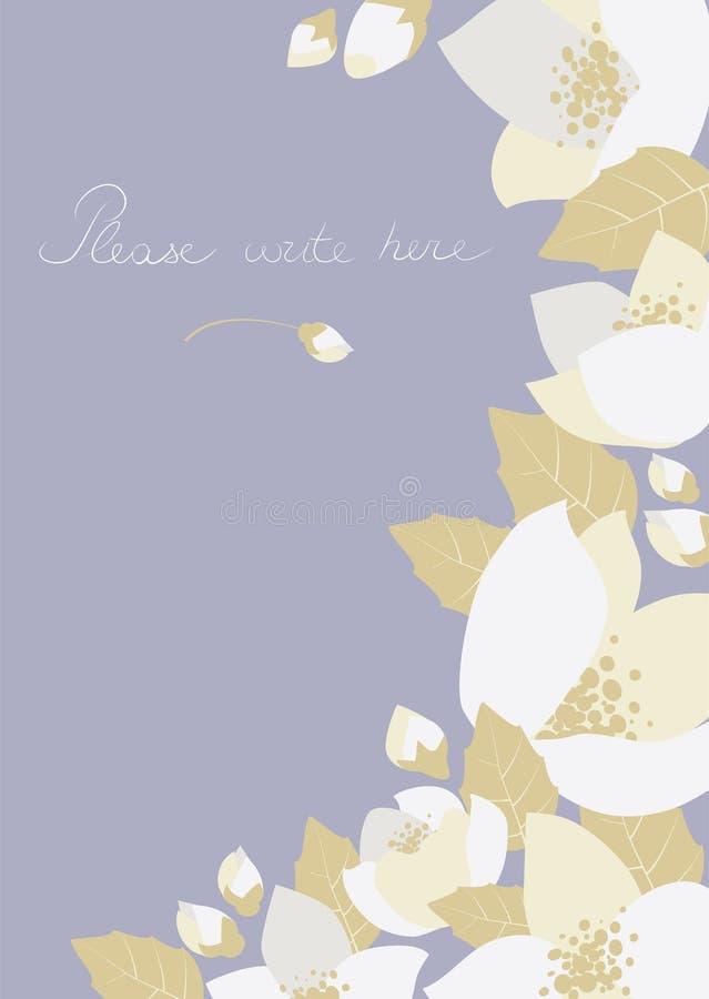 Поздравительная открытка с цветками жасмина иллюстрация вектора