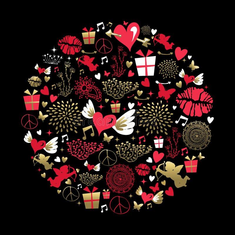 Поздравительная открытка формы пинка золота значка валентинки установленная иллюстрация вектора