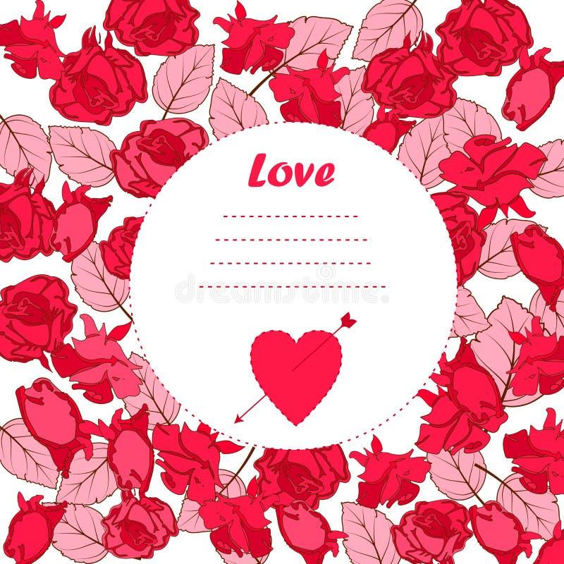 Поздравительная открытка, цветки шарж стиль doodle, симпатичное изображение для дня валентинок, дней рождения, и другого подарка иллюстрация вектора