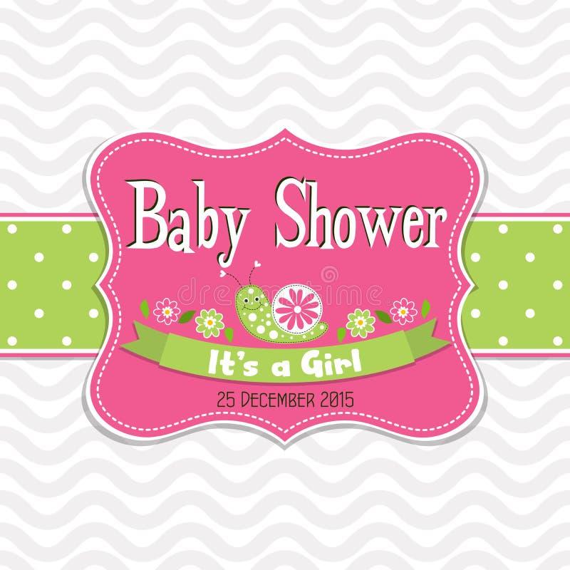 Поздравительная открытка шаблона - детский душ, вектор иллюстрация вектора