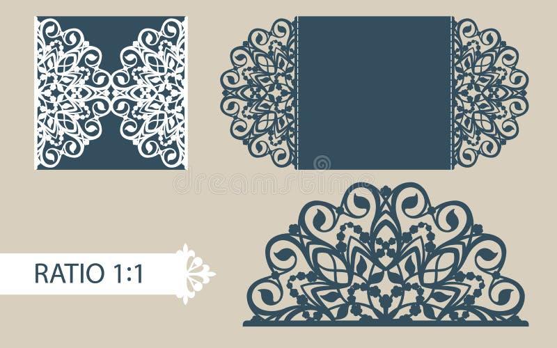Поздравительная открытка шаблона с openwork картиной иллюстрация штока