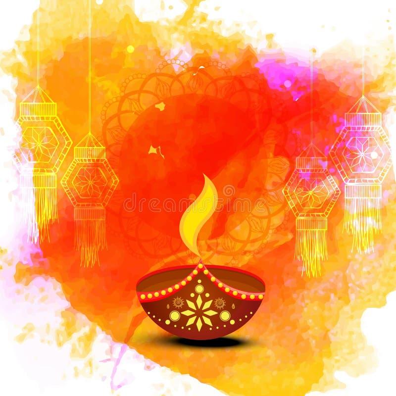 Поздравительная открытка для счастливого торжества Diwali иллюстрация вектора