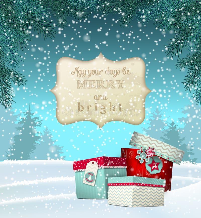 Поздравительная открытка Cristmas с подарочными коробками внутри иллюстрация штока