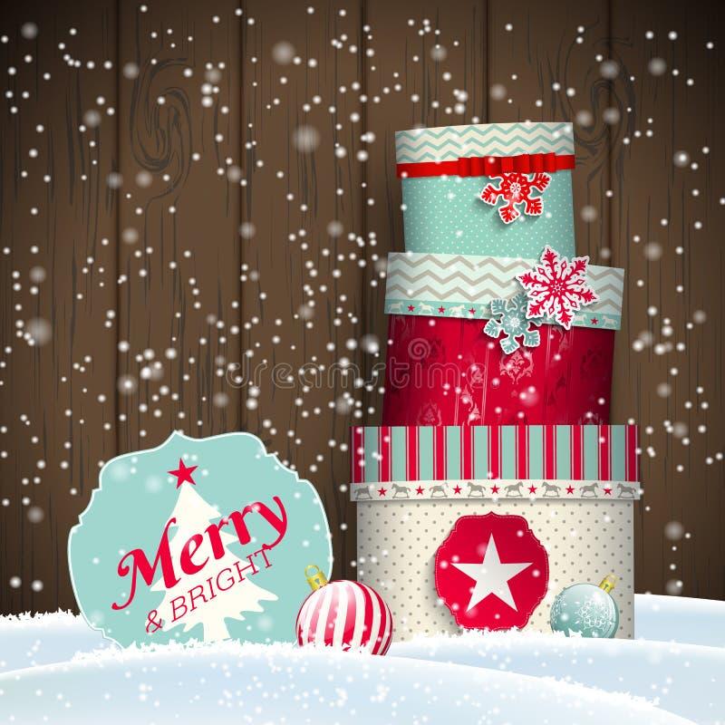 Поздравительная открытка Cristmas с giftbox в сугробе, темой зимы, иллюстрацией иллюстрация штока
