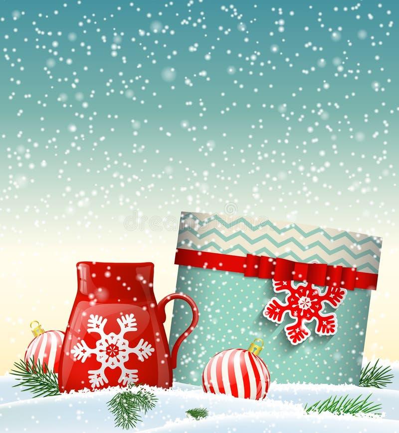 Поздравительная открытка Cristmas с giftbox и красным чашка иллюстрация штока