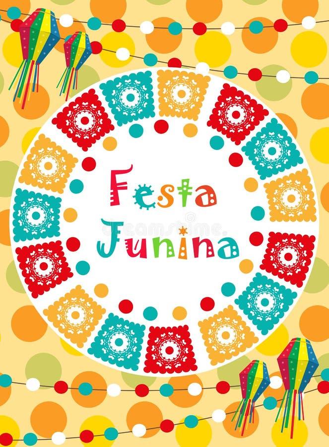 Поздравительная открытка Festa Junina, приглашение, плакат Бразильский латино-американский шаблон фестиваля для вашего дизайна ве бесплатная иллюстрация