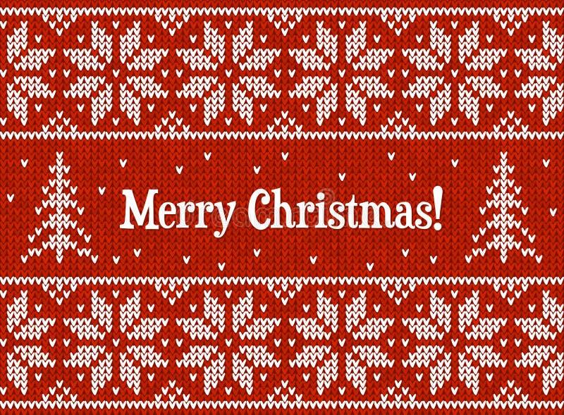 Поздравительная открытка knit красного и белого рождества бесплатная иллюстрация